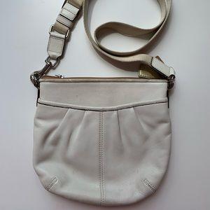 Coach white leather messenger crossbody bag